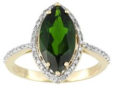 2.90ct Marquise Chrome Diopside With .17ctw Round White Diamond 14k Yellow Gold Ring