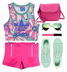 """Green and Pink"" by gabygirafe on Polyvore featuring adidas Originals, Dana Buchman and Butter London"