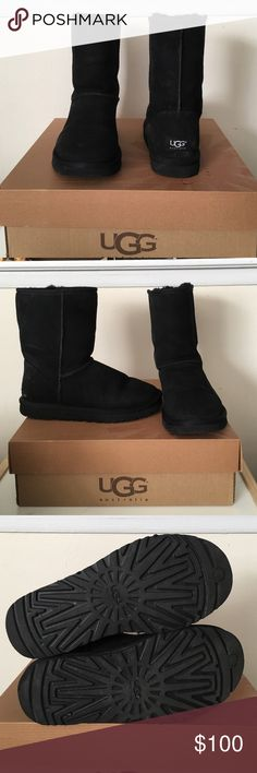 Black Classic short UGGS Barely worn!! Classic short black UGGS UGG Shoes Winter & Rain Boots