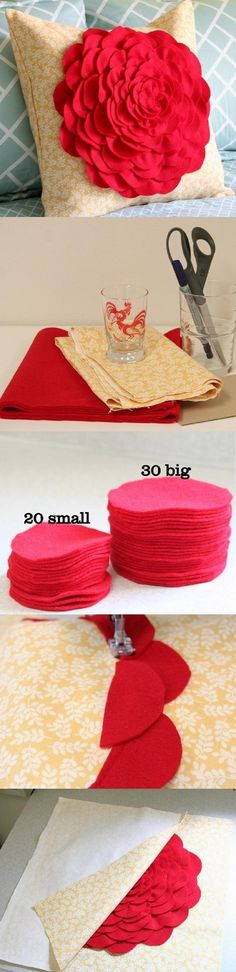 DIY Petal Pillow - 11 DIY Pillow Cases for Your Living Room | GleamItUp