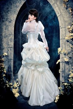 d62ad229584 Items similar to Steampunk Edwardian Wedding Dress - Elegant in Ivory - Victorian  Bustle Gown Silk- Sheer Sleeves High Neck - Custom to Order on Etsy