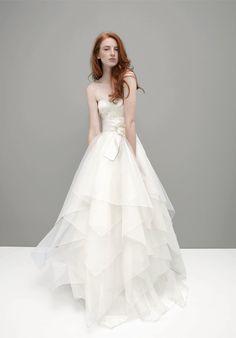 A-Line Strapless Floor Length Attached Silk Organza/ Alencon Lace Wedding Dress Style Bella