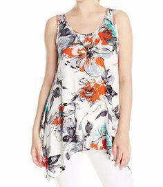 Karen Kane 2K50083 Floral Handkerchief Hem Stretch Knit Tank Top, M - $98   eBay Karen Kane, Floral Tops, Scoop Neck, Spandex, Tank Tops, Ebay, Women, Fashion, Moda