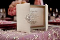 Silk Box Invitation with Brooch designed by Papered Wonders, Inc.