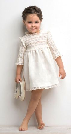 Rylee & Cru- what to wear for family pictures- Cream white little girl dress Little Girl Fashion, Toddler Fashion, Toddler Outfits, Kids Fashion, Girl Outfits, Little Girl Dresses, Girls Dresses, Flower Girl Dresses, Kid Styles