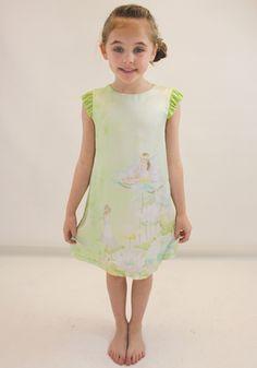 Mayoral girls green silk dress from Designerchildrens... #mayoral #designerkids #designerclothes #luxurykids #kidsclothes #girlsclothes #silk #print #dress #modelkids