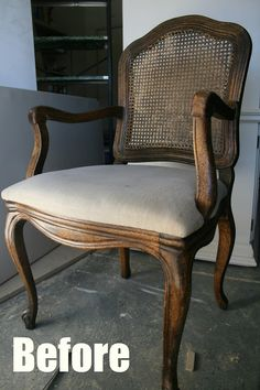 Pneumatic Addict Furniture: How to Upholster a Caned Back Chair: Tutorial - July 20 2019 at Dining Chair Makeover, Chair Redo, Diy Chair, Furniture Makeover, Reupholster Furniture, Upholstered Furniture, Furniture Making, Home Furniture, Timber Furniture