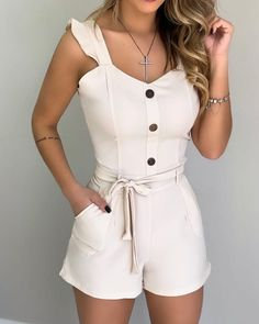 Style:Fashion Pattern Type:Solid Material:Polyester Neckline:V-Neck Sleeve Style:Sleeveless Length:Regular Occasion:Casual Package Note: There might be difference according to. Cute Spring Outfits, Summer Fashion Outfits, Cute Outfits, Rompers Women, Jumpsuits For Women, Boho Romper, Trend Fashion, Summer Romper, Two Piece Outfit