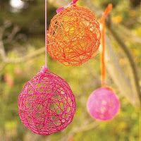 balloon decoupage with different colored twine.  would be cute with some christmas lights strung around