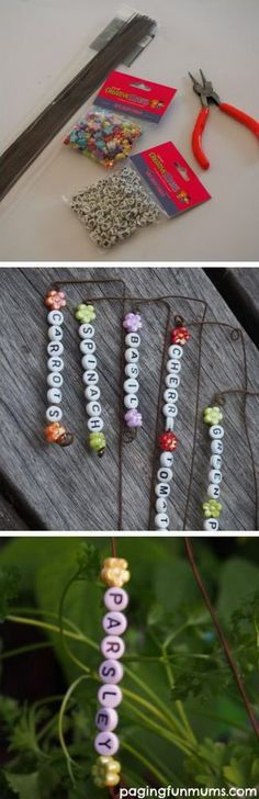DIY Beaded Plant Markers