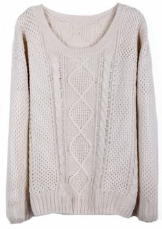 Beige Round Neck Broken Stripe Cable Sweater pictures