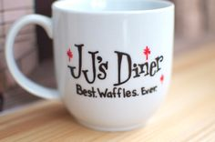 Parks and Recreation JJ's Diner Best Waffles Ever Hand-Painted Mug by abirdinthehand on Etsy https://www.etsy.com/listing/220682882/parks-and-recreation-jjs-diner-best
