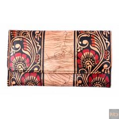 Shantiniketan Style Clutch bag in genuine leather with block Handicraft, Clutch Bag, Continental Wallet, Leather, How To Wear, Bags, Style, Craft, Handbags