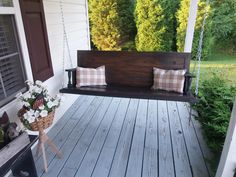 Porch swing made from old doors
