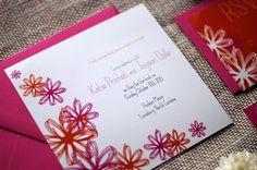 Wedding Invitation Fun Flower Seen in Watermelon by NINE7OHDESIGNS, $150.00