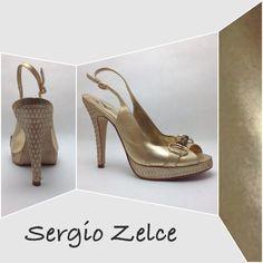 "Selling this ""Glistening Gold Slingback Stilettos"" in my Poshmark closet! My username is: sugarmax9. #shopmycloset #poshmark #fashion #shopping #style #forsale #Shoes"