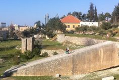 Quarry, Baalbek, Lebanon — by Bettina Arknaes. This is the quarry of Baalbek where the stones for the podium of the Great Temple of Jupiter were cut. One stone is...