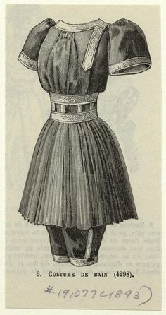 Bathing costume, 1893 From Le Moniteur de la mode : journal du grande monde.  I wish we still wore suits like this.