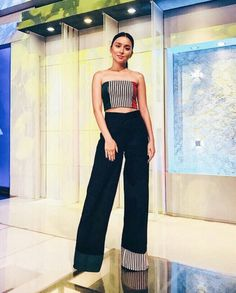 Catch this beauté and later tonight on twba! Star Fashion, Indian Fashion, Retro Fashion, Fashion Show, Fashion Outfits, Women's Fashion, Kathryn Bernardo Outfits, Filipina Actress, Trouser Outfits