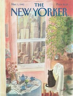 I love the mood in this one -- city, sunlight, cat, tea setting.