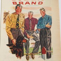 1948 botany brand shirts and slacks vintage magazine ad. $6.95, via Etsy.