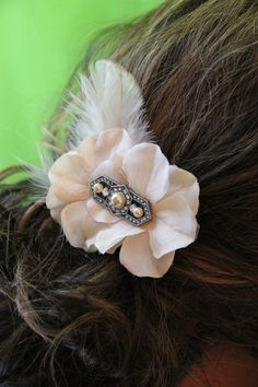 Vintage inspired taupe accessory with retro by PetalPushersHair, $79.99