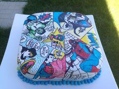 Superhero comic hand painted cake