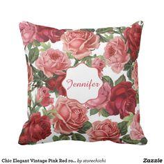 Chic Elegant Vintage Pink Red roses floral name
