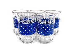 1950s Polka Dot Tumblers - Retro Mid Century Anchor Hocking Cobalt Blue Rockabilly Floral Lace Drinking Juice Glasses 5 Set Cocktail Barware on Etsy, $50.00
