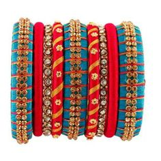 Shopo.in : Buy Red And Blue Silk Thread Bangle online at best price in Tirunelveli, India