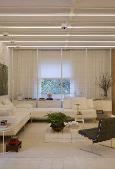white floors and modern lighting