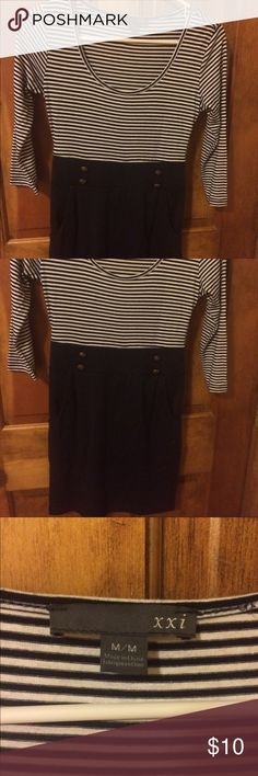 Nautical Dress Nautical buttons on front. Bodycon fit. Very gently used. Forever 21 Dresses Mini