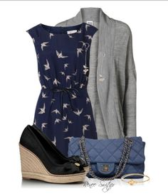 Office outfit ... blue, gray, black... sophisticated