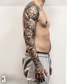 Realistic Sleeve Tattoo Lion Roses Dove Angel Moon - Jannes de Groot Tattoo Forearm Sleeve Tattoos, Angel, Photo And Video, Lotus, Sleeves, Lion, Instagram, Ideas, Art