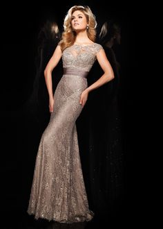 Long Fitted Coffee Illusion Neck Lace Beaded Prom Dress.jpg 550×770 pixels