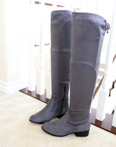 63f873b841e Wide Shaft Ankle Calf Micro Suede Stretch Over The Knee High Boots Charcoal   Trendyoak
