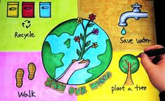 Art Articles- Detail information about Earth Day which is celebrated world wide, lets know more about earth day, posters, theme of earth day Earth Craft, Earth Day Crafts, Earth Drawings, Art Drawings For Kids, Save Mother Earth Poster, Poster On Earth Day, World Environment Day Posters, Save Environment Poster Drawing, Save Water Poster Drawing
