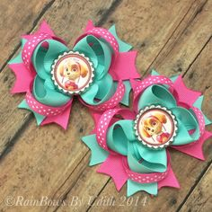 Paw patrol inspired hair bow Skye bow Paw by RainBowsbyudith