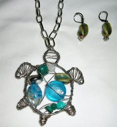 wire wrapped turtle | Jewelry at affordable prices : Turtle necklace set - wire wrapped