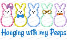 Hanging with My Peeps Applique Embroidery Design features our Single Bunny Peep design with some added bling …. a cute design to wear year 'round.