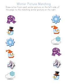 winter worksheets for several different skills