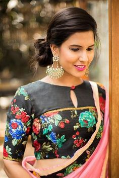 6787d3fdb8276 Buy House Of Blouse Black floral blouse with yoke detailing online in India  at best price.Black