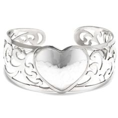 Hammered Sterling Silver Heart Filigree Cuff Bracelet (silver heart cuff bracelet filigree) Women's