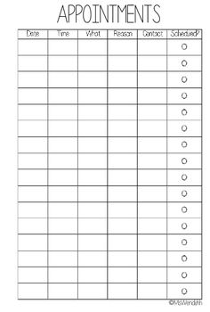 printable appointment book template organize pinterest