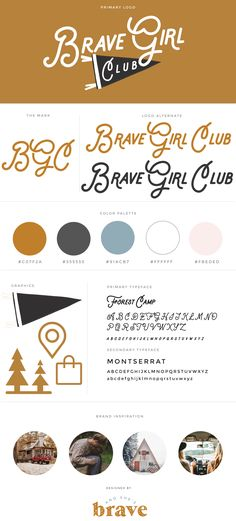 Brave Girl Club Brand Design and Guidelines   mustard gold, wanderlust, mountains, felt pennant, hand drawn design, logo design, brand design, lifestyle blog branding, moodboard, vintage style logo
