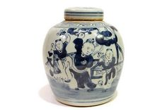 Vintage Style Chinese Blue and White Children Playing Motif Round Cover Jar