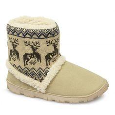 Divaz DENMARK Ladies Boot Slippers Beige