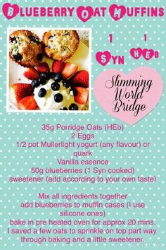 Slimming world blueberry muffins Slimming World Muffins, Slimming World Puddings, Slimming World Cake, Slimming World Tips, Slimming World Desserts, Slimming World Breakfast, Slimming World Recipes Syn Free, Syn Free Food, Blue Berry Muffins