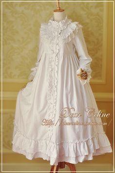 Dear Celine Cotton Long Nightgown OP - Another! Kawaii Fashion, Lolita Fashion, Cute Fashion, Rock Fashion, Fashion 2018, Fashion Boots, Vintage Dresses, Vintage Outfits, Vintage Fashion