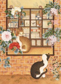 손유영, 너를 기다려 Korean Painting, Chinese Painting, Chinese Art, Korean Art, Asian Art, Korean Traditional, Traditional Art, Fork Art, Fancy Cats